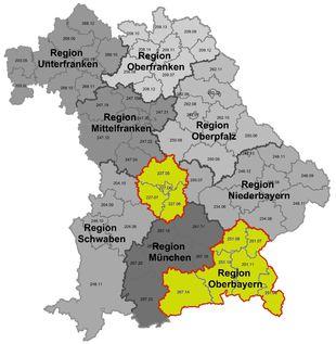 Karte Oberbayern Landkreise.Oberbayern Region